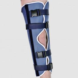 Attelle de genou en extension monobloc, boucles à fermeture rapide